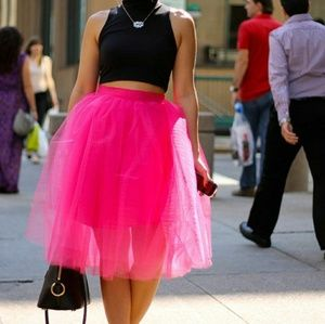 New Hot Pink Lined Tulle Skirt Size XL
